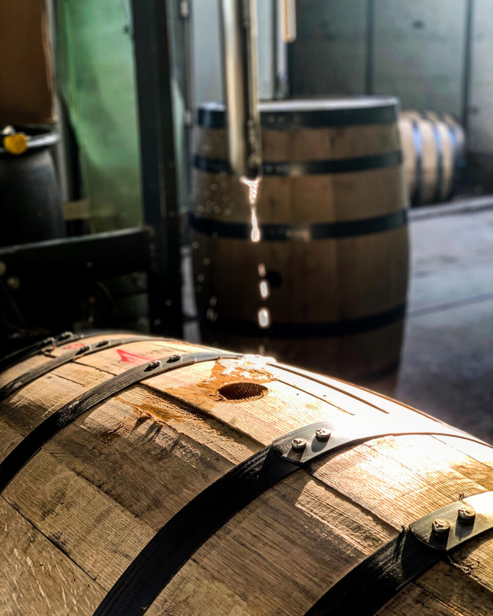 It takes about 1 1/2 minutes to fill each 53-gallon white oak barrel at Wilderness Trail Distillery.